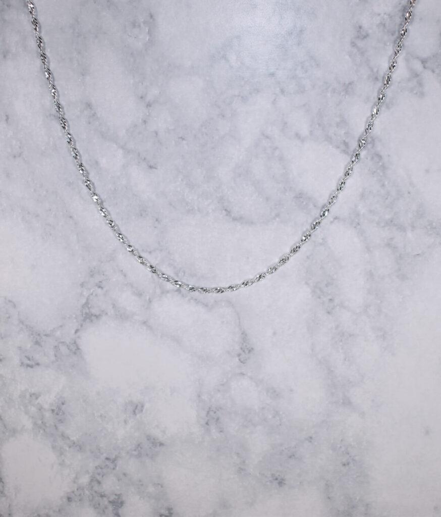 łańcuszek srebrny próba 925 cienki Singapur 45cm grubość 2mm
