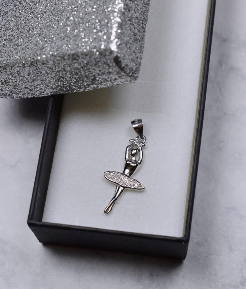 wisiorek srebrny próba 925 baletnica z cyrkoniami rodowany