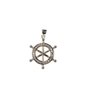 wisiorek srebrny próba 925 koło sterowe z cyrkoniami rodowane