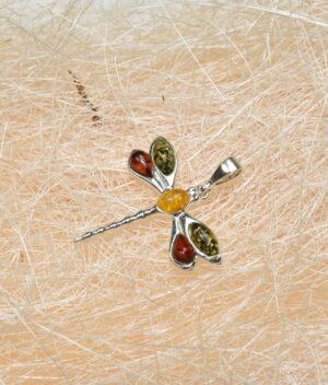 wisiorek srebrny próba 925 z bursztynem mix kolorów ważka