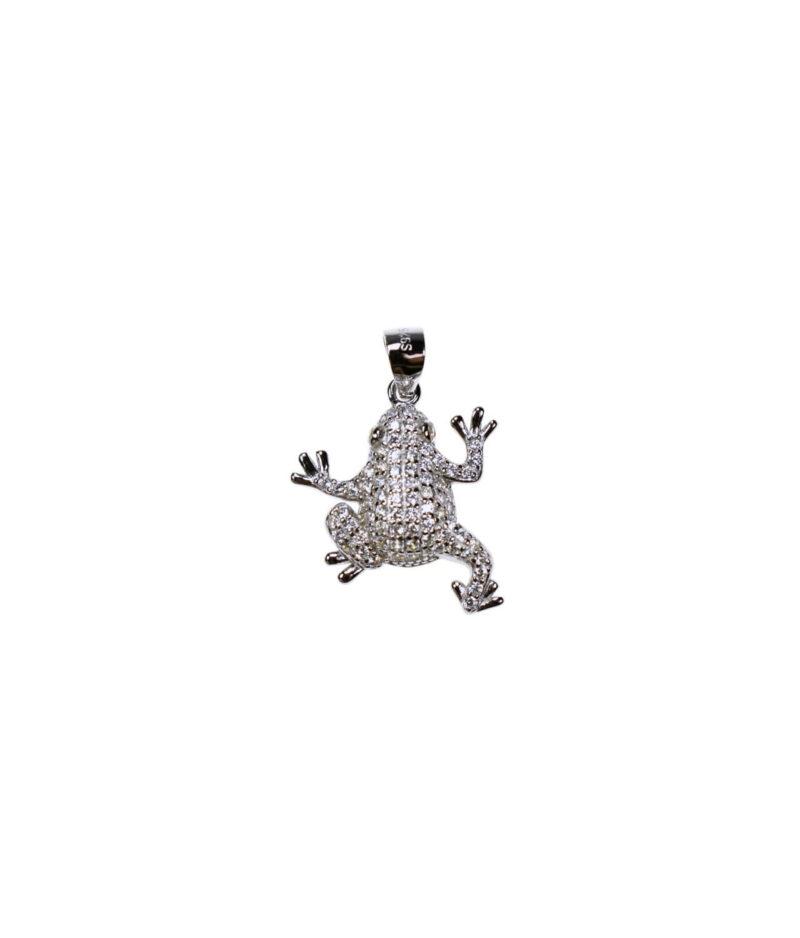 wisiorek srebrny próba 925 żabka z cyrkoniami