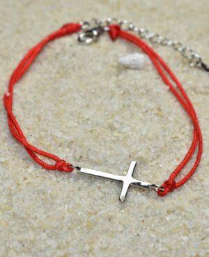 bransoletka srebrna próba 925 gładki krzyżyk sznurkowa czerwona z przedłużką