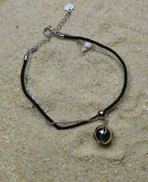 bransoletka srebrna próba 925 z ażurową kulką sznurkowa czarna ankier