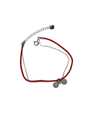 bransoletka srebrna próba 925 z kuleczkami diamentowanymi sznurkowa czerwona na ankierze