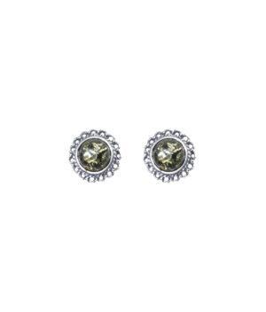 kolczyki srebrne próba 925 z bursztynem i koronką oksydowane zielone okrągłe na sztyft